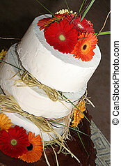 wedding cake - Wedding cake with orange flowers