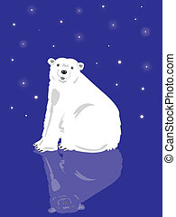 Polar Bear in Snowy Scene with Icy Reflection (Illustration)