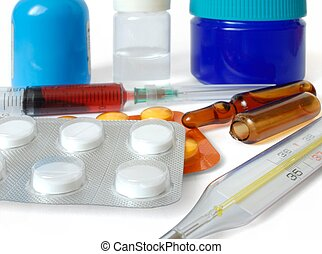 Pharmaceuticals - Isolated pharmaceuticals and thermometer
