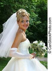 Bride - The beautiful bride in park