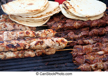Chicken and Beef Kabobs on Grill