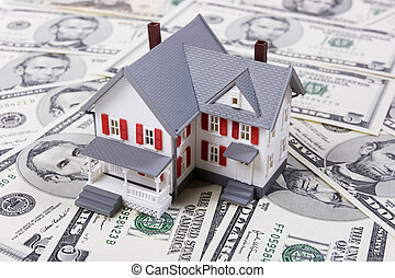 Mortgage and down payment - Two-story house with five dollar...