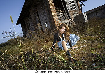hayloft - portrait of a girl in a farm