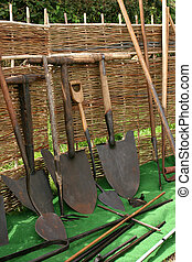 Old Vintage Shovels - Old vintage iron shovels with wooden...