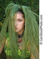 Deep woods Fairy - Mysteriously saddened girl with a green...