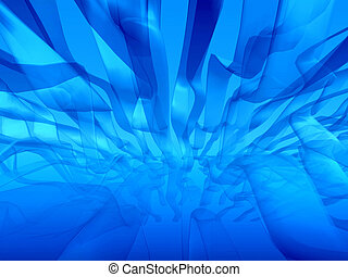 Blue seaweed abstract - Bionic virtual environment looking...
