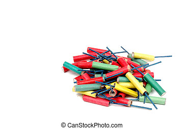 Firecrackers - Colorful Firecrackers Isolated on White