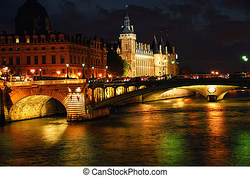 Nighttime Paris - Bridges over Seine and Conciege in...
