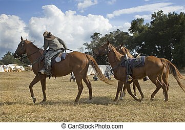 Cavalry Dismounts - The cavalry soldiers dismount to shoot.