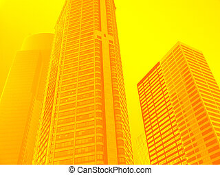 Skyscrapers - Global Warming - high rise office buildings in...