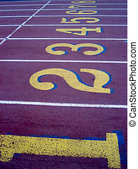Finish Line - Numbers in lanes at the finish line on a track