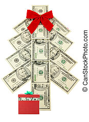 money Christmas tree and gift - Money Christmas tree with...