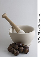 Pestle and Mortar with spice cooking ingredients