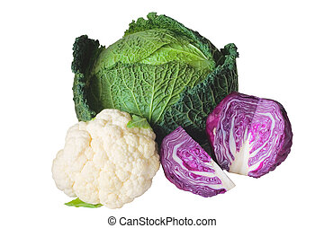 Cabbage varieties: Savoy cabbage, red cabbage and...