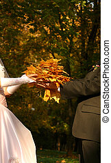 Wedding bouquet - The bride with yellow leaves