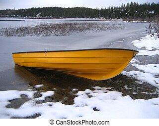 Boat in winter