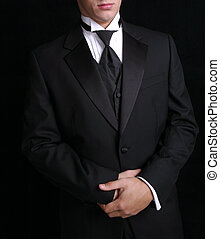 Man In Black Tux - Man wearing black tuxedo, dress for...