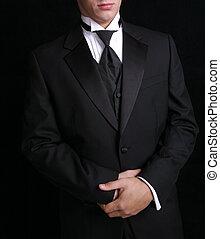 hombre, en, negro, tux