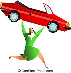 car success - happy woman carrying a red sports car, maybe...