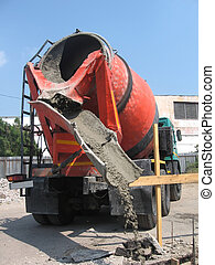 concrete mixer - Concrete mixer working
