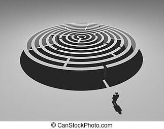 Maze man - Single man at circular labyrinth entrance