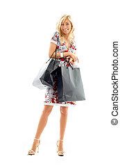 shopping lady 2 - lovely blond with shopping bags over white...