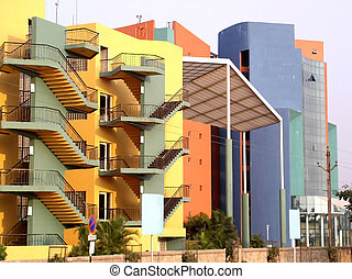 Modern Architecture - Colourful office complex modern...