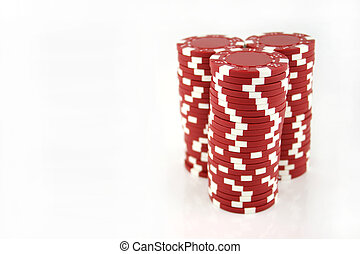 Red Casino Chips - 3 stacks of red casino chips isolated on...