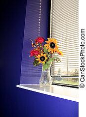 Flower vase in a win - Autumn Flower vase in a window