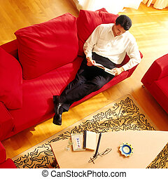 Relaxing Man - chinese man at home