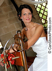 Bride Sitting - Bride having a seat on chapel bench