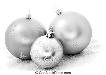 Mono Baubles - Three Christmas baubles in black and white