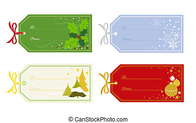 Christmas Gift Tags in Different Designs - Snowflakes,...