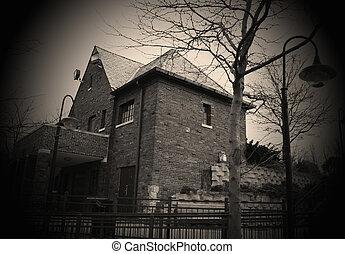 Spooky house - Abandoned spooky house in sephia gradiant