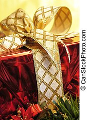 Christmas Decoration - gold christmas ornaments with...
