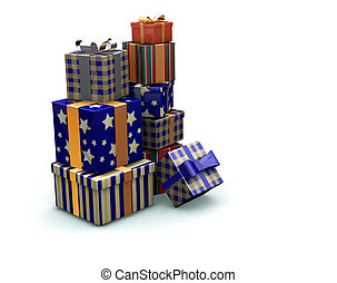 Stack of gifts - 3D render of a stack of gifts