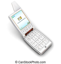 Mobile phone - 3D render of a generic mobile phone with...