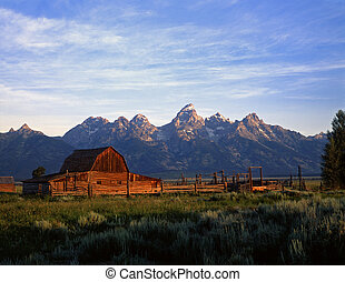 TetonRanch2 - A barn and corral at the base of the Teton...