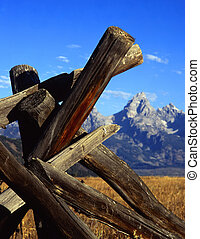 Tetons and Fence5 - A buck and rail fence and the Teton...