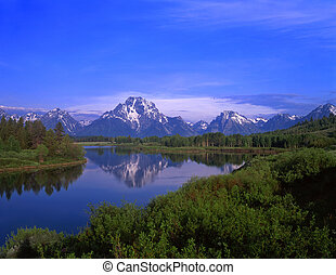 MtMoran and SnakeRiver1 - An Oxbow Bend of the Snake River,...