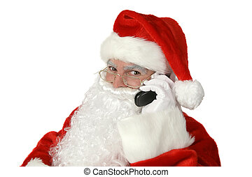 Classic Santa With Cellphone - A traditional Christmas Santa...