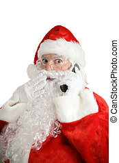 Santa Cellular Shock - Santa talking on his cellphone with a...