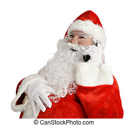 Santas Funny Phone - Santa laughing out loud as he talks on...