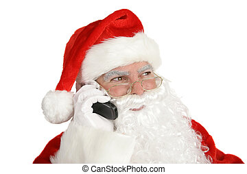 Santa\\\'s Phone Call - Santa Clause smiles and talks on his...