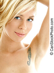 friendly blond portrait - closeup portrait of friendly blond...