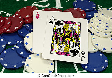 Black Jack - Photo of a Black Jack Hand and Chips - Gambling...