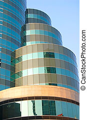 Modern tower - Detail of futuristic curved Bangkok tower...