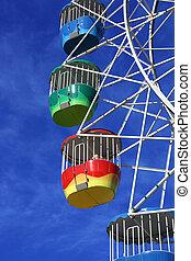 colourful wheel - colourful ferris wheel at lunapark sydney