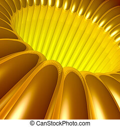 Gold 3d Tunnel - Computer generated image - Gold 3d Tunnel.