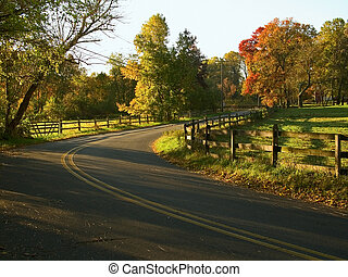 Country Road - A view of a country road in a rural section...